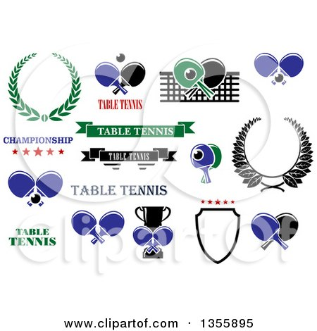 Clipart of Table Tennis Ping Pong Sports Designs with Text - Royalty Free Vector Illustration by Vector Tradition SM