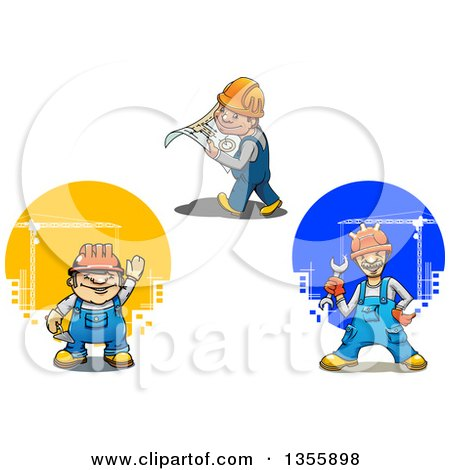 Clipart of Cartoon White Construction Workers - Royalty Free Vector Illustration by Vector Tradition SM