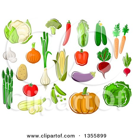 Clipart of Cartoon Produce Vegetables - Royalty Free Vector Illustration by Vector Tradition SM