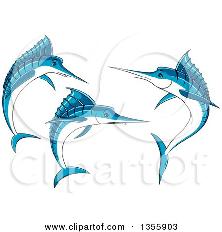 Clipart of Jumping Blue Marlin Fish - Royalty Free Vector Illustration by Vector Tradition SM