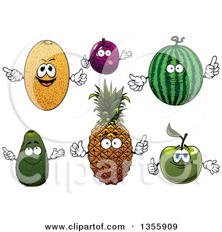 Clipart of Cartoon Cantaloupe, Plum, Watermelon, Green Apple, Pineapple and Avocado Characters - Royalty Free Vector Illustration by Vector Tradition SM