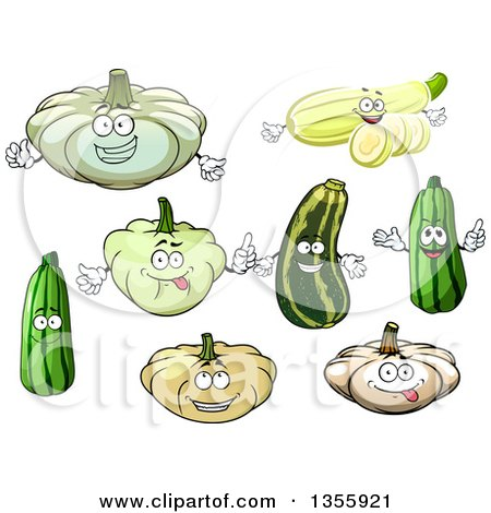Clipart of Cartoon Squash and Zucchini Characters - Royalty Free Vector Illustration by Vector Tradition SM