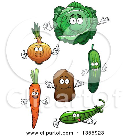 Clipart of Cartoon Carrot, Pea, Cucumber, Potato, Yellow Onion and Cabbage Characters - Royalty Free Vector Illustration by Vector Tradition SM