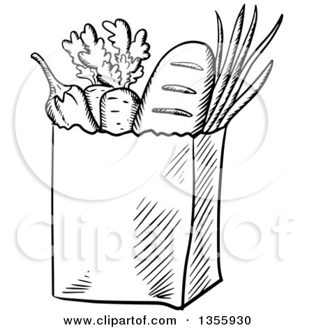 Black And White Grocery Bag Clip Art Clipart of a Paper Gro...