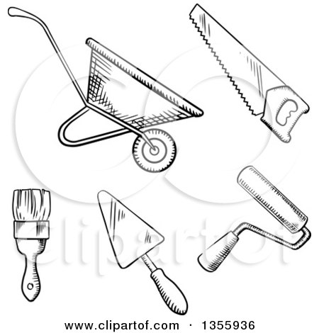 Clipart of a Black and White Sketched Wheelbarrow, Saw ...
