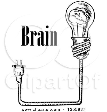 Clipart of a Black and White Sketched Brain Light Bulb, Plug and Text - Royalty Free Vector Illustration by Vector Tradition SM