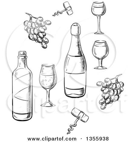 Clipart of Black and White Sketched Wine Bottles, Glasses and Grapes - Royalty Free Vector Illustration by Vector Tradition SM