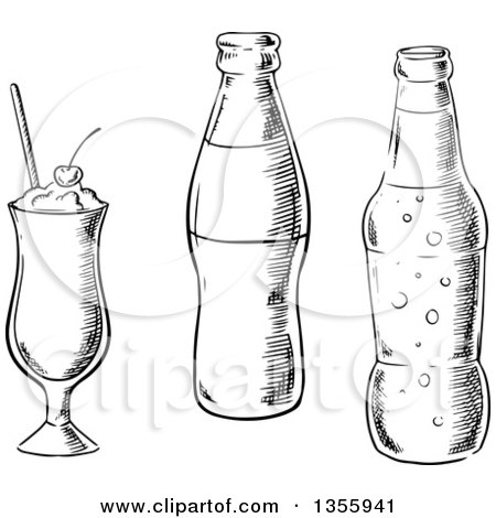 Clipart of a Black and White Sketched Milkshake and Soda Bottles - Royalty Free Vector Illustration by Vector Tradition SM