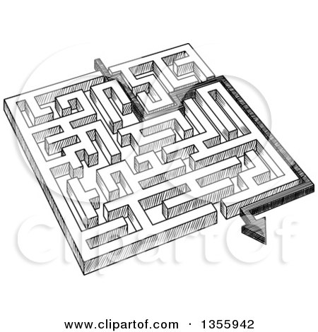 Clipart of a Black and White Sketched Maze and Arrow - Royalty Free Vector Illustration by Vector Tradition SM