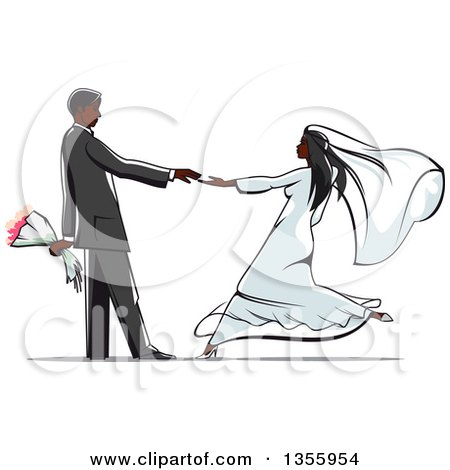 Clipart Of A Black Wedding Couple Dancing Royalty Free Vector Illustration
