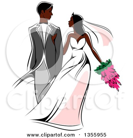 Clipart of a Black Wedding Couple Walking Arm in Arm - Royalty Free Vector Illustration by Vector Tradition SM