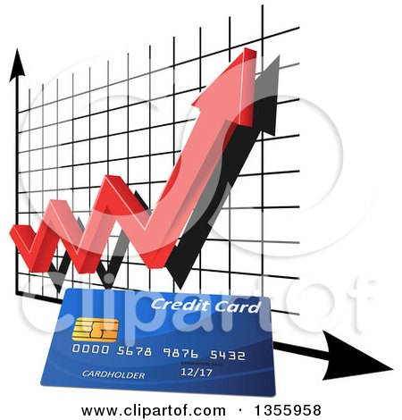 Clipart of a 3d Red Arrow and Chart over a Credit Card - Royalty Free Vector Illustration by Vector Tradition SM