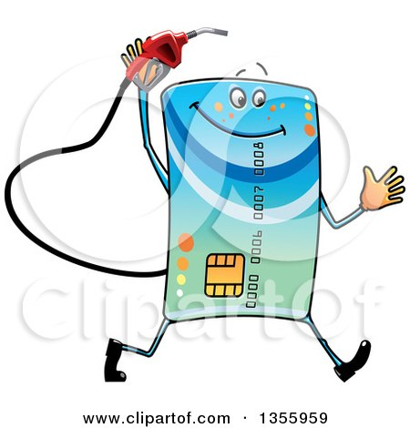 Clipart of a Cartoon Credit Card Character Running with a Gas Nozzle - Royalty Free Vector Illustration by Vector Tradition SM