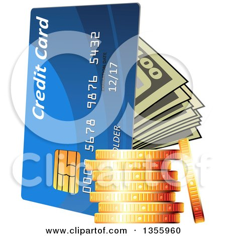 Clipart of a 3d Stack of Gold Coins, Cash Money and a Credit Card - Royalty Free Vector Illustration by Vector Tradition SM