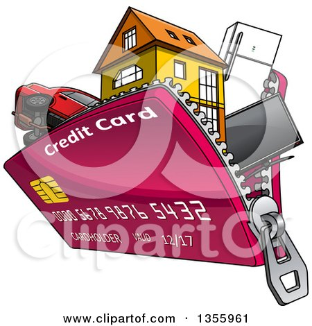 Clipart of a Cartoon Credit Card Purse Unzipping with Electronics, Appliances, a House and Car - Royalty Free Vector Illustration by Vector Tradition SM