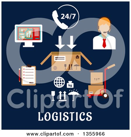 Clipart of a Flat Design Call Operator and Logistics Shipping Items over Text on Dark Blue - Royalty Free Vector Illustration by Vector Tradition SM