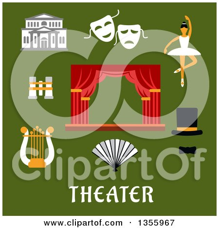 Clipart of Flat Design Theater Icons over Text on Green - Royalty Free Vector Illustration by Vector Tradition SM