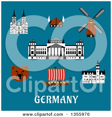 Clipart of a Flat Design Bear, Reichstag Building, Gothic Cathedral and Castle, Windmill, Viking Helmet with Horns and Longship Drakkar over Germany Text on Blue - Royalty Free Vector Illustration by Vector Tradition SM