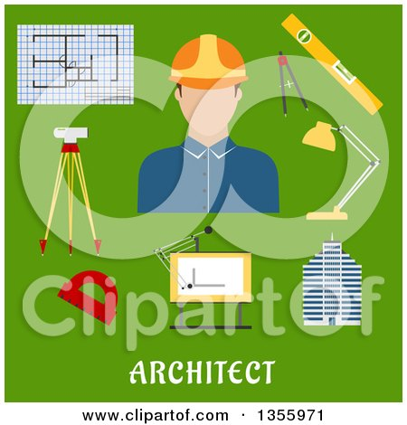 Clipart of a Flat Design Architect, Drawing Table, Blueprint, Compasses, Protractor, Lamp, Ruler, Building and Automatic Level on Tripod over Text on Green - Royalty Free Vector Illustration by Vector Tradition SM