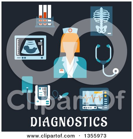 Clipart of a Flat Design Nurse or Doctor, Stethoscope, Chest X-ray, Blood Test Tubes, Ecg and Ultrasound Monitors, Blood Pressure Cuff over Text on Dark Blue - Royalty Free Vector Illustration by Vector Tradition SM