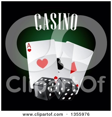 Clipart of a Casino Design with Playing Cards and Dice - Royalty Free Vector Illustration by Vector Tradition SM