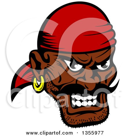 Clipart of a Cartoon Tough Black Male Pirate Wearing a Red Bandanana - Royalty Free Vector Illustration by Vector Tradition SM