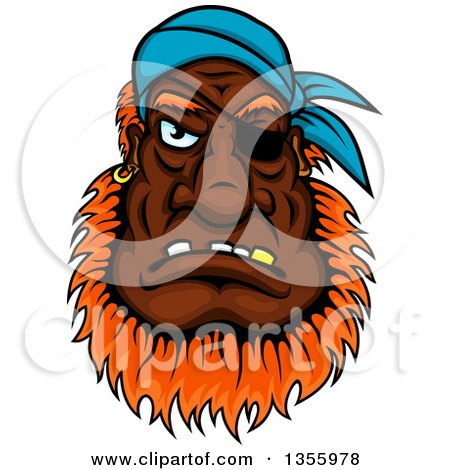 Clipart of a Cartoon Tough Black Male Pirate Wearing an Eye Patch - Royalty Free Vector Illustration by Vector Tradition SM