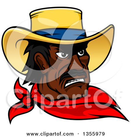 Clipart of a Black Male Cowboy Wearing a Red Bandana - Royalty Free Vector Illustration by Vector Tradition SM