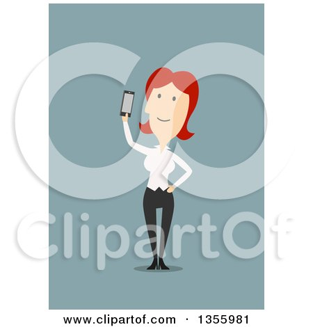 Clipart of a Flat Design Red Haired White Business Woman Holding up a Smart Phone, on Blue - Royalty Free Vector Illustration by Vector Tradition SM