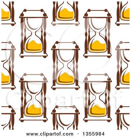 Clipart of a Seamless Pattern Background of Hourglasses - Royalty Free Vector Illustration by Vector Tradition SM