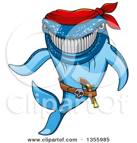Clipart of a Cartoon Grinning Blue Pirate Shark Wearing a Bandana - Royalty Free Vector Illustration by Vector Tradition SM