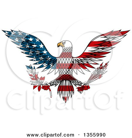 Clipart of a Flying American Flag Patterned Bald Eagle Holding a Peace Olive Branch and War Arrows - Royalty Free Vector Illustration by Vector Tradition SM