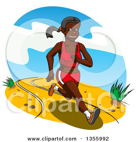 Clipart of a Cartoon Healthy and Fit Black Woman Running - Royalty Free Vector Illustration by Vector Tradition SM