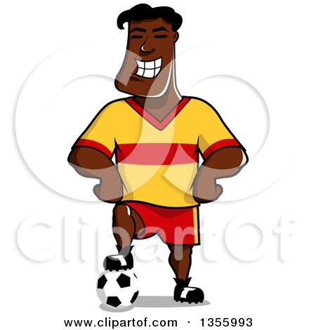 Clipart of a Cartoon Grinning Black Male Soccer Player - Royalty Free Vector Illustration by Vector Tradition SM