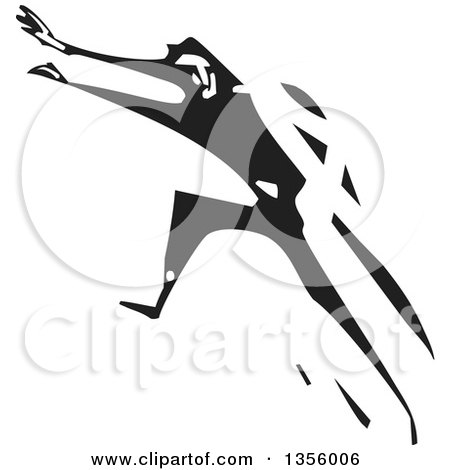 Clipart of a Black and White Woodcut Man Running Away - Royalty Free Vector Illustration by xunantunich