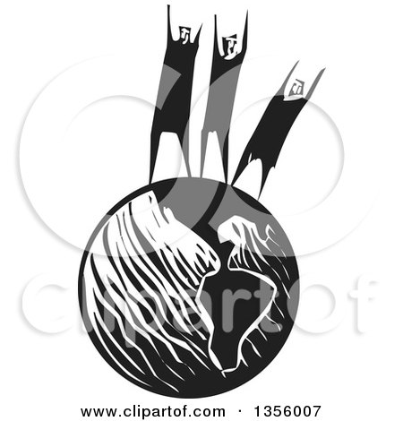 Clipart Of A Black And White Woodcut Group Of People Cheering Or Shouting For Help On Top Of Planet Earth Royalty Free Vector Illustration