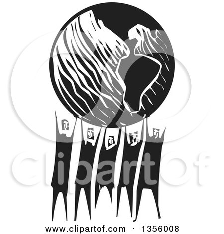 Clipart of a Black and White Woodcut Group of People Holding up Planet Earth - Royalty Free Vector Illustration by xunantunich