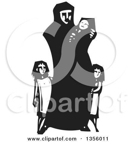 Clipart of a Black and White Woodcut Islamic Refugee Mother with Her Children - Royalty Free Vector Illustration by xunantunich