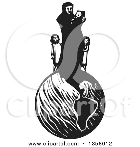 Clipart of a Black and White Woodcut Islamic Refugee Mother with Her Children on Top of Earth - Royalty Free Vector Illustration by xunantunich