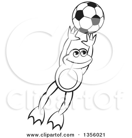 Clipart of a Cartoon Black and White Frog Leaping for a Soccer Ball - Royalty Free Vector Illustration by Lal Perera