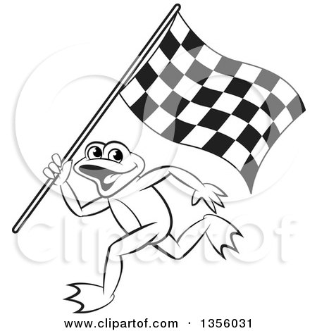 Clipart of a Cartoon Black and White Frog Running with a Checkered Race Flag - Royalty Free Vector Illustration by Lal Perera