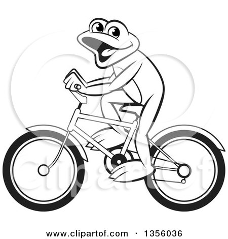 Clipart of a Cartoon Black and White Frog Riding a Bicycle - Royalty Free Vector Illustration by Lal Perera