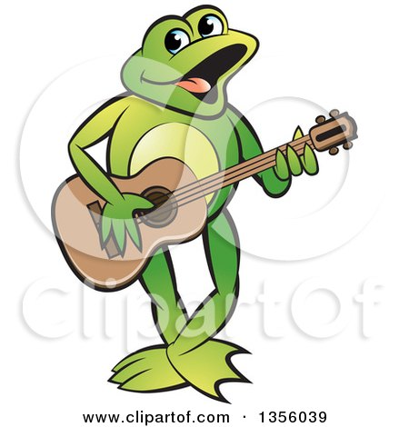 Clipart of a Cartoon Green Frog Playing a Guitar - Royalty Free Vector Illustration by Lal Perera