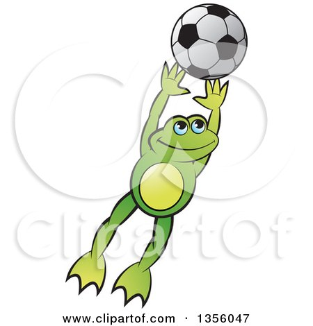 Clipart of a Cartoon Green Frog Leaping for a Soccer Ball - Royalty Free Vector Illustration by Lal Perera