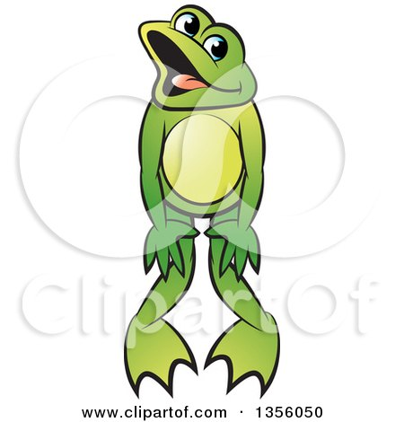 Clipart of a Cartoon Green Frog Dancing - Royalty Free Vector Illustration by Lal Perera