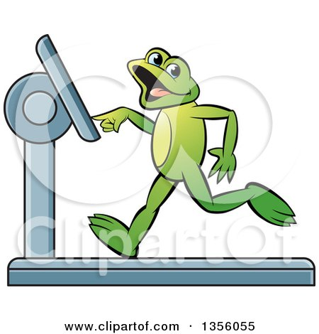Clipart of a Cartoon Green Frog Running on a Treadmill - Royalty Free Vector Illustration by Lal Perera