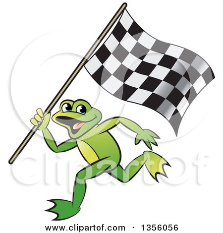 Clipart of a Cartoon Green Frog Running with a Checkered Race Flag - Royalty Free Vector Illustration by Lal Perera