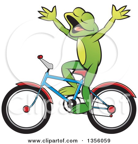 Clipart of a Cartoon Green Frog Riding a Bicycle Without Hands - Royalty Free Vector Illustration by Lal Perera