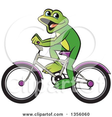 Clipart of a Cartoon Green Frog Riding a Bicycle - Royalty Free Vector Illustration by Lal Perera