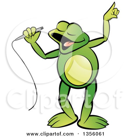 Clipart of a Cartoon Green Frog Singing - Royalty Free Vector Illustration by Lal Perera